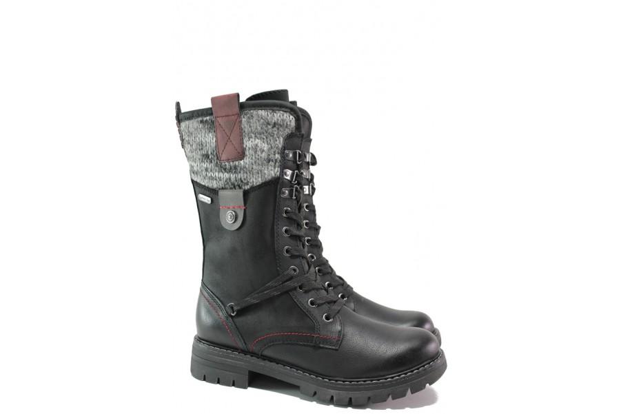 Дамски боти - висококачествена еко-кожа - черни - EO-14777