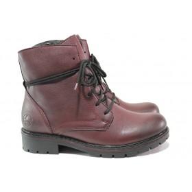 Дамски боти - висококачествена еко-кожа - бордо - EO-14784