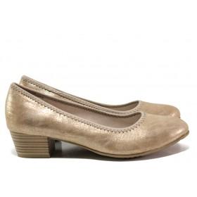 Дамски обувки на среден ток - висококачествена еко-кожа - бежови - EO-14978