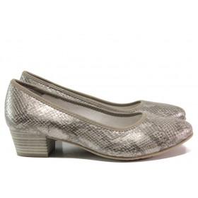 """Дамски обувки на среден ток - еко-кожа с """"кроко"""" мотив - сиви - EO-14977"""