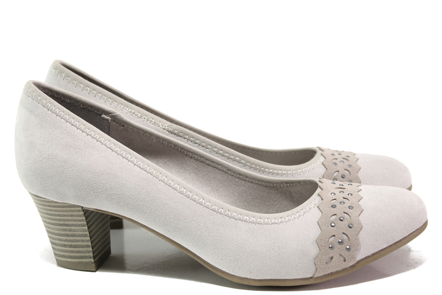 Дамски обувки на среден ток - висококачествен текстилен материал - сиви - EO-14983