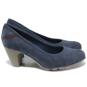 Дамски обувки на среден ток - висококачествена еко-кожа - тъмносин - EO-15060
