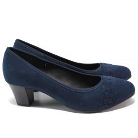 Дамски обувки на среден ток - висококачествен текстилен материал - тъмносин - EO-15055