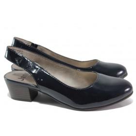 Дамски обувки на среден ток - еко кожа-лак - тъмносин - EO-15069