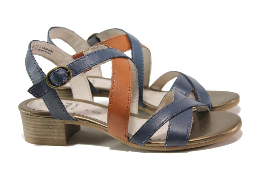 Дамски сандали - естествена кожа - тъмносин - EO-15082