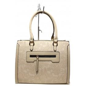 Дамска чанта - висококачествена еко-кожа - бежови - EO-15126