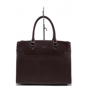 Дамска чанта - висококачествена еко-кожа - бордо - EO-15142