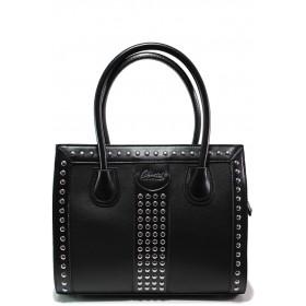 Дамска чанта - висококачествена еко-кожа - черни - EO-15149