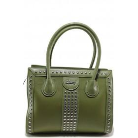 Дамска чанта - висококачествена еко-кожа - зелени - EO-15150