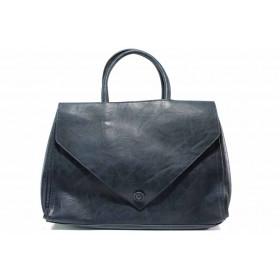 Дамска чанта - висококачествена еко-кожа - тъмносин - EO-15515