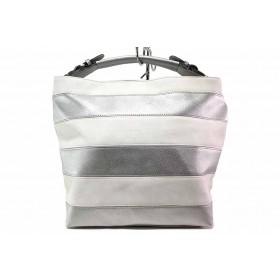 Дамска чанта - висококачествена еко-кожа - сребро - EO-16585