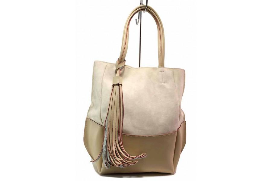 Дамска чанта - висококачествена еко-кожа - бежови - EO-16586