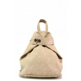 Раница - висококачествена еко-кожа - бежови - EO-16589