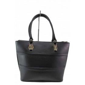 Дамска чанта - висококачествена еко-кожа - черни - EO-17474