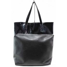 Дамска чанта - еко кожа-лак - черни - EO-17498