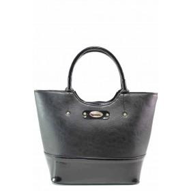 Дамска чанта - еко кожа-лак - черни - EO-17499