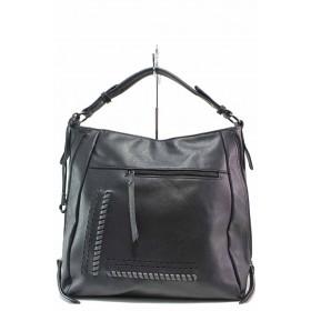 Дамска чанта - висококачествена еко-кожа - черни - EO-17505