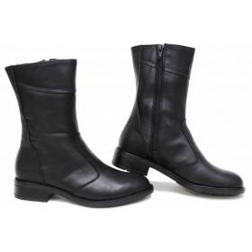Дамски боти - естествена кожа - черни - EO-16786