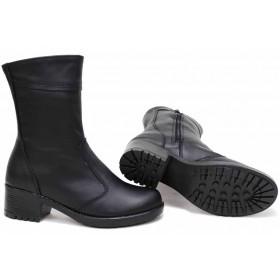 Дамски боти - естествена кожа - черни - EO-16784