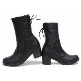 Дамски боти - естествена кожа - черни - EO-16791