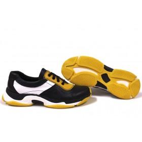 Дамски маратонки - естествена кожа - черни - EO-15361