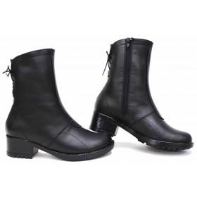 Дамски боти - естествена кожа - черни - EO-16776