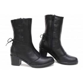 Дамски боти - естествена кожа - черни - EO-16800