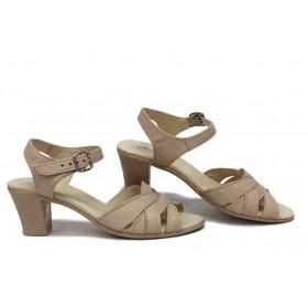 Дамски сандали - естествена кожа - бежови - EO-16106