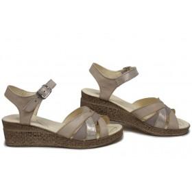 Дамски сандали - естествена кожа - бежови - EO-15718