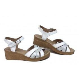 Дамски сандали - естествена кожа - бели - EO-15738