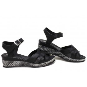 Дамски сандали - естествена кожа - черни - EO-15719