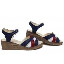 Дамски сандали - естествена кожа - сини - EO-16107