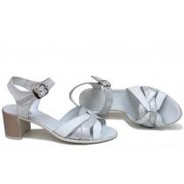 Дамски сандали - естествена кожа - бели - EO-16105