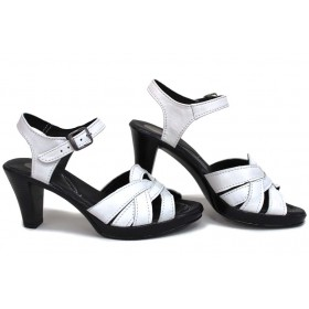 Дамски сандали - естествена кожа - бели - EO-15711