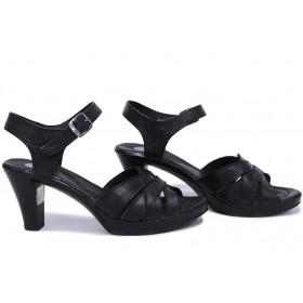 Дамски сандали - естествена кожа - черни - EO-15713
