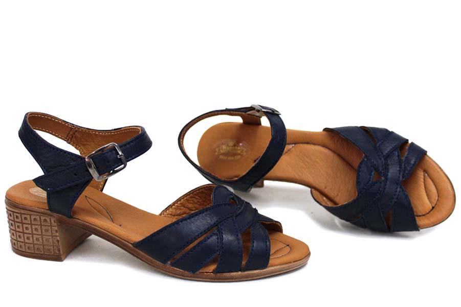 Дамски сандали - естествена кожа - сини - EO-15714