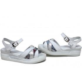 Дамски сандали - естествена кожа - бели - EO-15737