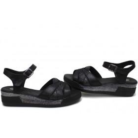 Дамски сандали - естествена кожа - черни - EO-15717