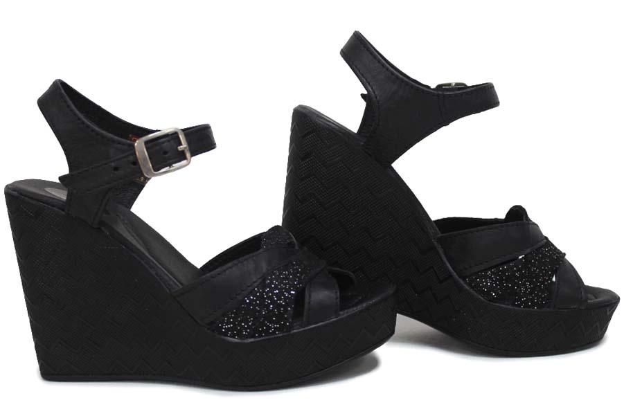 Дамски сандали - естествена кожа - черни - EO-16108