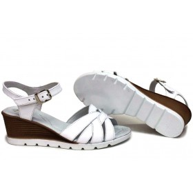 Дамски сандали - естествена кожа - бели - EO-15739
