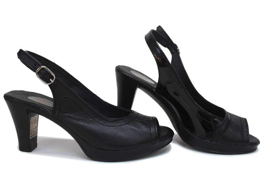Дамски сандали - естествена кожа - черни - EO-16109