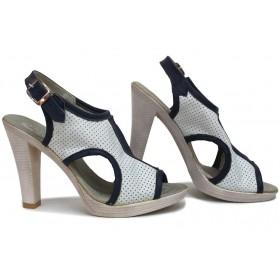 Дамски сандали - естествена кожа - бели - EO-16111