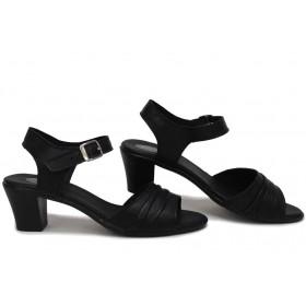 Дамски сандали - естествена кожа - черни - EO-15722
