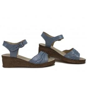 Дамски сандали - естествена кожа - сини - EO-15723