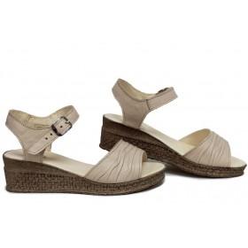 Дамски сандали - естествена кожа - бежови - EO-16113
