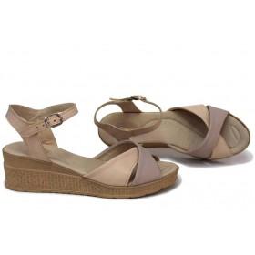 Дамски сандали - естествена кожа - бежови - EO-15725