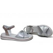 Дамски сандали - естествена кожа - бели - EO-16114