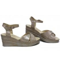 Дамски сандали - естествена кожа - бежови - EO-15726