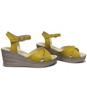 Дамски сандали - естествена кожа - жълти - EO-15727