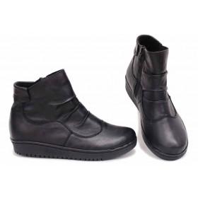 Дамски боти - естествена кожа - черни - EO-16818